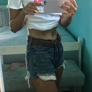 Levi's distressed high waisted shorts